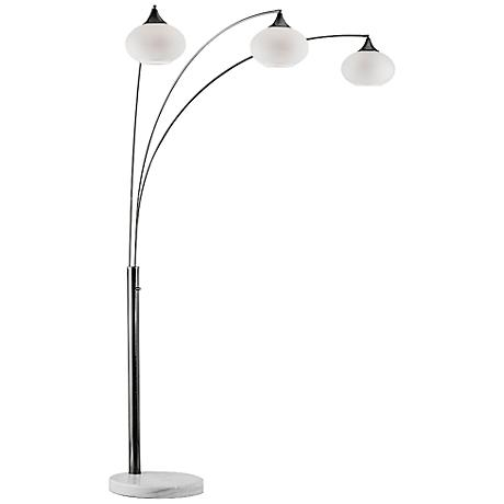 Nova Genie Brushed Nickel Modern Arc Floor Lamp