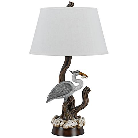 Barnstable Egret Aged Wood Table Lamp