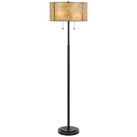 Manitou Dark Bronze Metal Mica Floor Lamp