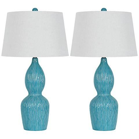 Alaster Sky Blue Ceramic Table Lamps - Set of 2