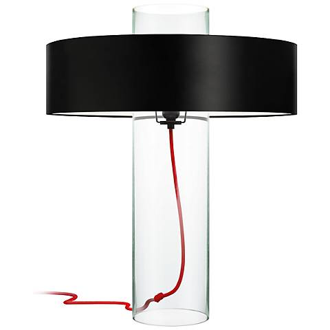 Sonneman Level Clear Glass Table Lamp with Black Shade