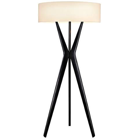 Sonneman Bel Air Satin Black Large Floor Lamp