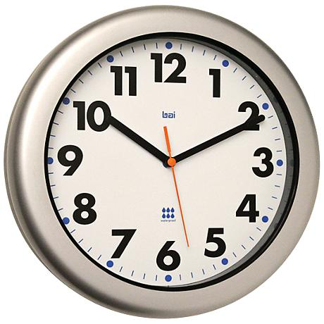 """Aquamaster Silver 12"""" Round Outdoor Wall Clock"""