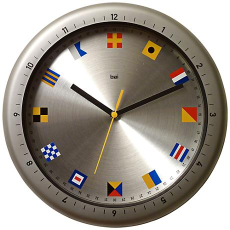 "Aquamaster Flags 12"" Round Outdoor Wall Clock"