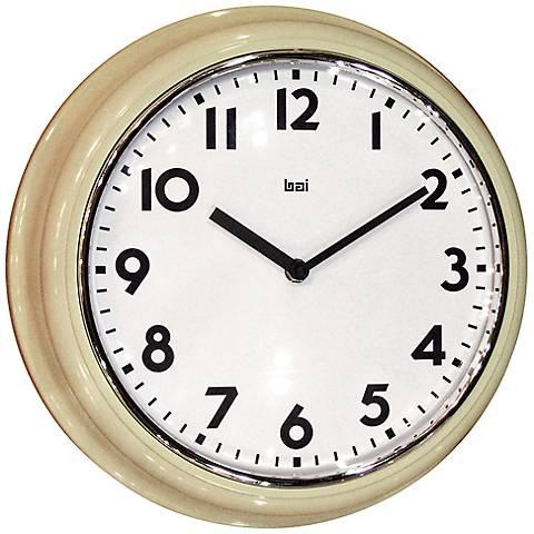 "Classic Cream Retro School 12 1/2"" Round Wall Clock"