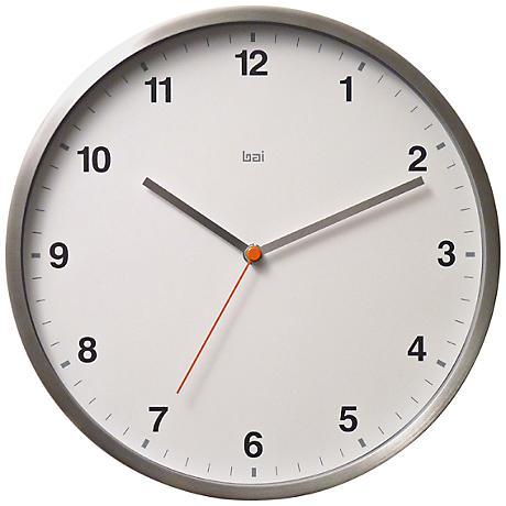 """Helio Aluminum White 11"""" Round Wall Clock"""