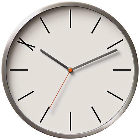"""Saliz Aluminum White 11"""" Round Wall Clock"""