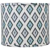 Aqua Gray Diamonte Drum Lamp Shade 14x14x11 (Spider)