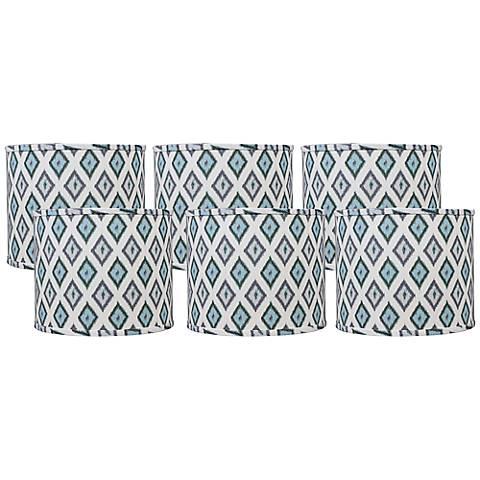 Aqua Gray Diamonte Set of 6 Drum Shades 5x5x4.5 (Clip-On)