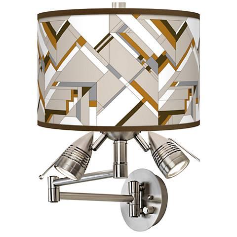 Craftsman Mosaic Giclee Swing Arm Wall Lamp