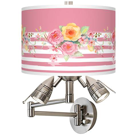 Country Rose Giclee Swing Arm Wall Lamp
