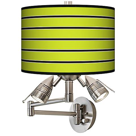 Bold Lime Green Stripe Giclee Swing Arm Wall Light
