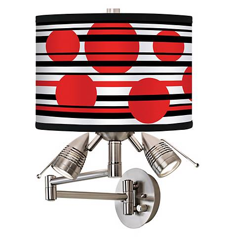 Red Balls Giclee Swing Arm Wall Light