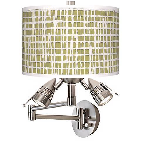 Ecru Screen Linen Giclee Plug-In Swing Arm Wall Light
