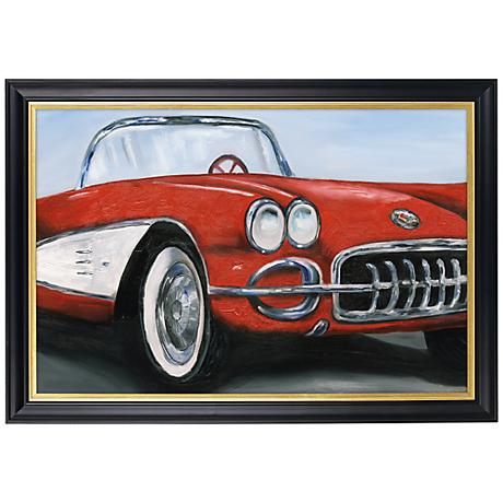 """Red Roadster Gold Trim Giclee 41 1/2"""" Wide Wall Art"""