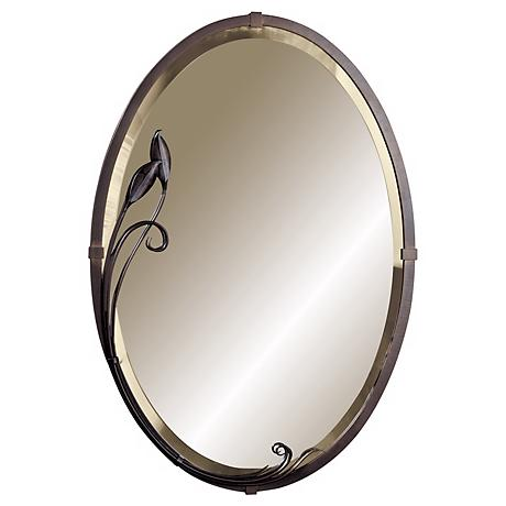 "Hubbardton Forge Metra Oval Leaf 32 1/2"" High Wall Mirror"