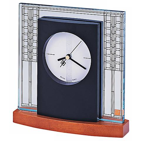 "Bulova Glasner House Frank Lloyd Wright 6 1/4"" Wide Clock"