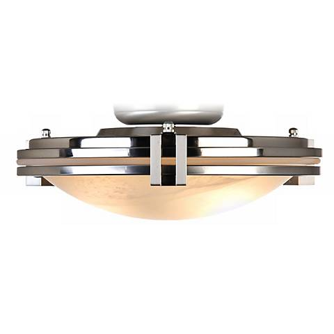 Pull Chain Light Kit Brushed Steel w/ Alabaster Glass