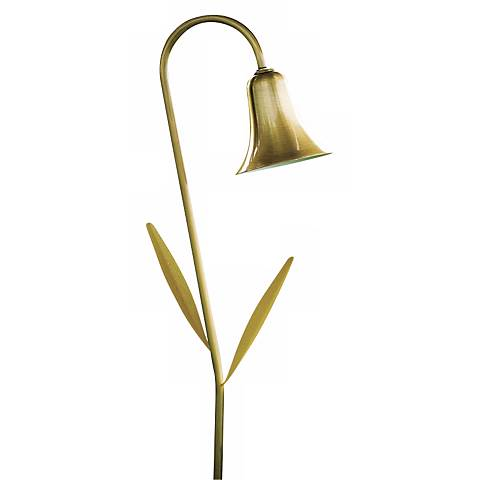 Dabmar Antique Brass Horn with Leaves Landscape Path Light