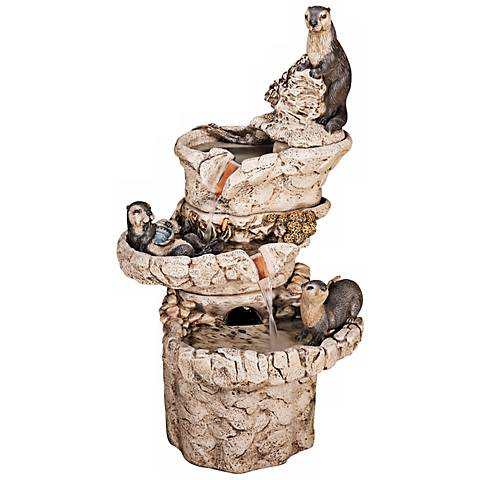 "Henri Studio 46"" High Hi-Tone Sea Otter 3-Tier Fountain"