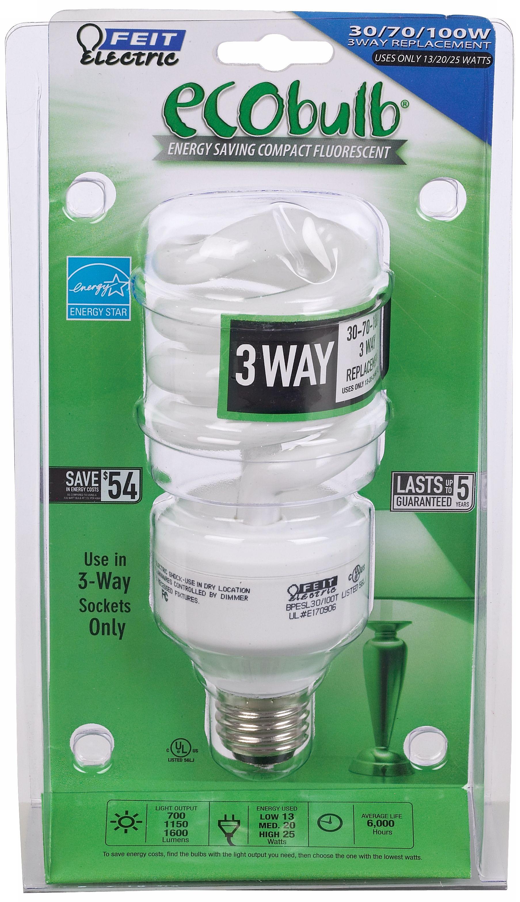 3way energy saving cfl energy star eco light bulb