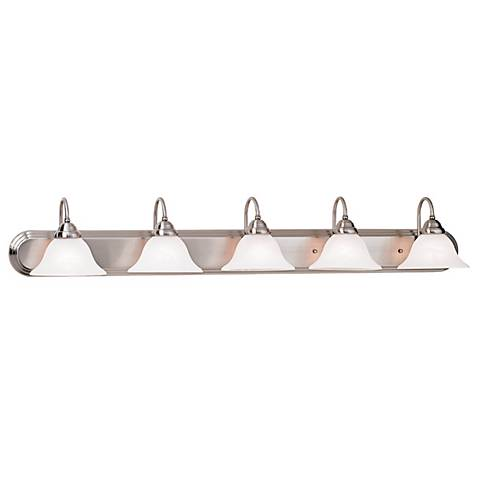 "Brushed Steel and Marbleized Glass 48"" Wide Vanity Light"