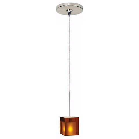 Cube Satin Nickel Amber Glass Tech Lighting Mini Pendant
