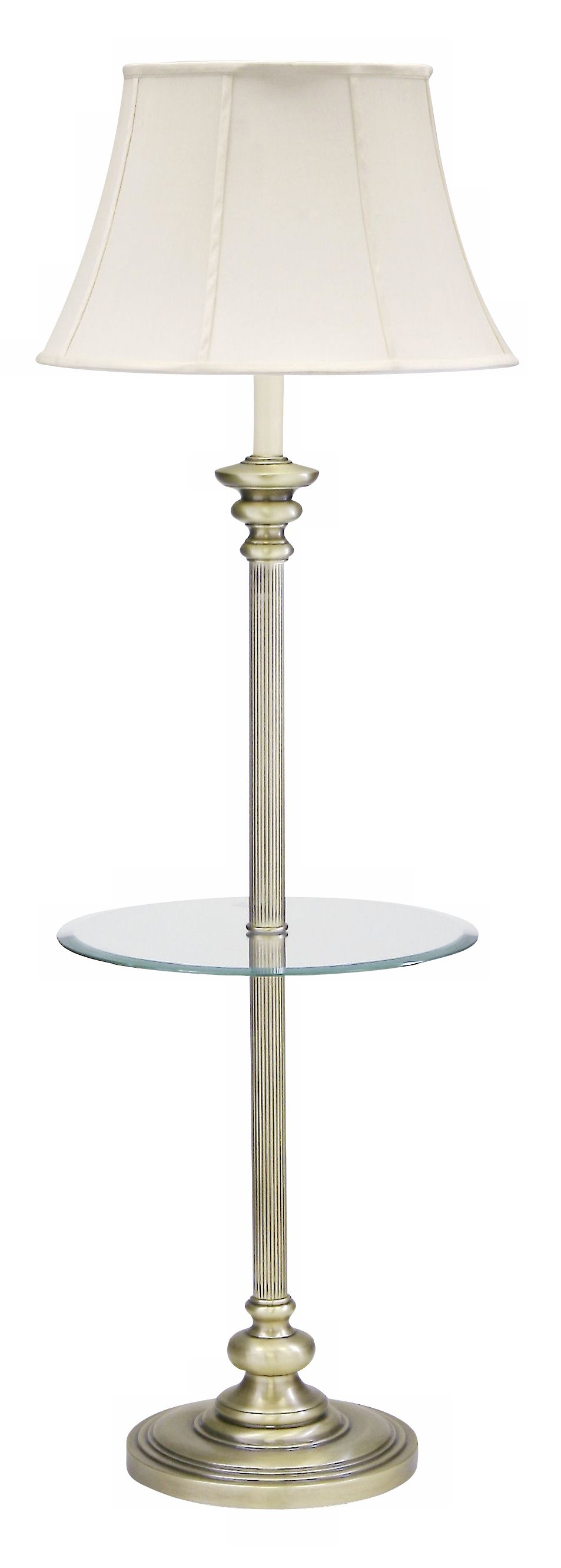 High Quality House Of Troy Newport Glass Tray Floor Lamp Antique Brass