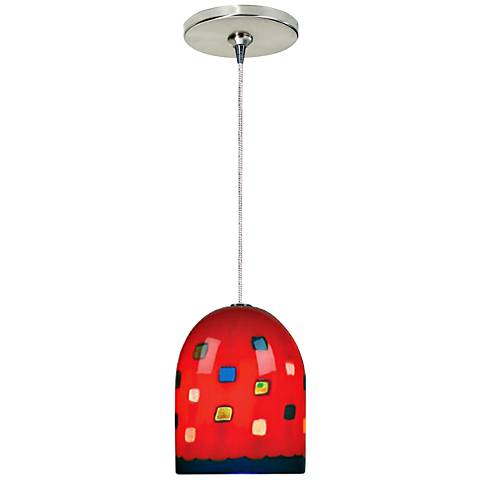 """Gem 4 1/2""""W Nickel and Red Freejack Mini Pendant with Canopy"""