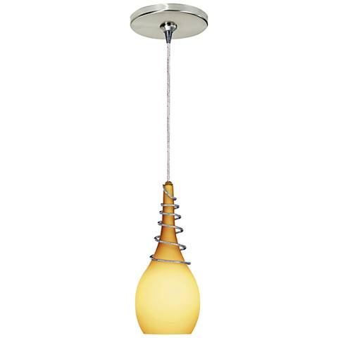 """Water 3 1/4"""" Wide Amber Freejack Mini Pendant with Canopy"""