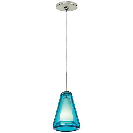 "Tech Lighting Billow 5""W Blue Satin Nickel Mini Pendant"