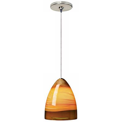 Nebbia Amber Glass Satin Nickel Tech Lighting Mini Pendant