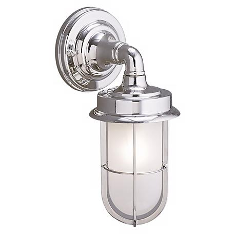 "Industrial Chrome Finish 11 3/4"" High Outdoor Wall Light"