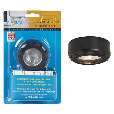 Black Halogen 20 Watt Single Puck Light Kit