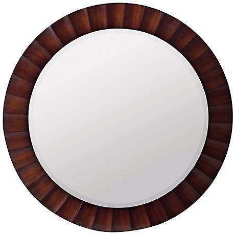 """Ridged Dark Brown Round 36"""" Wide Mirror"""
