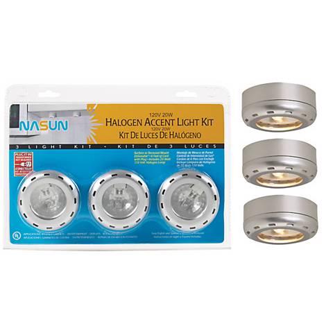 Silver Finish Halogen 20 Watt 3-Pack Puck Light Kit