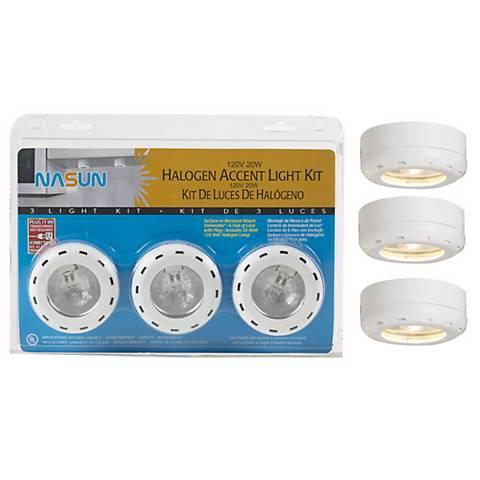 White Halogen 20 Watt 3-Pack Puck Light Kit