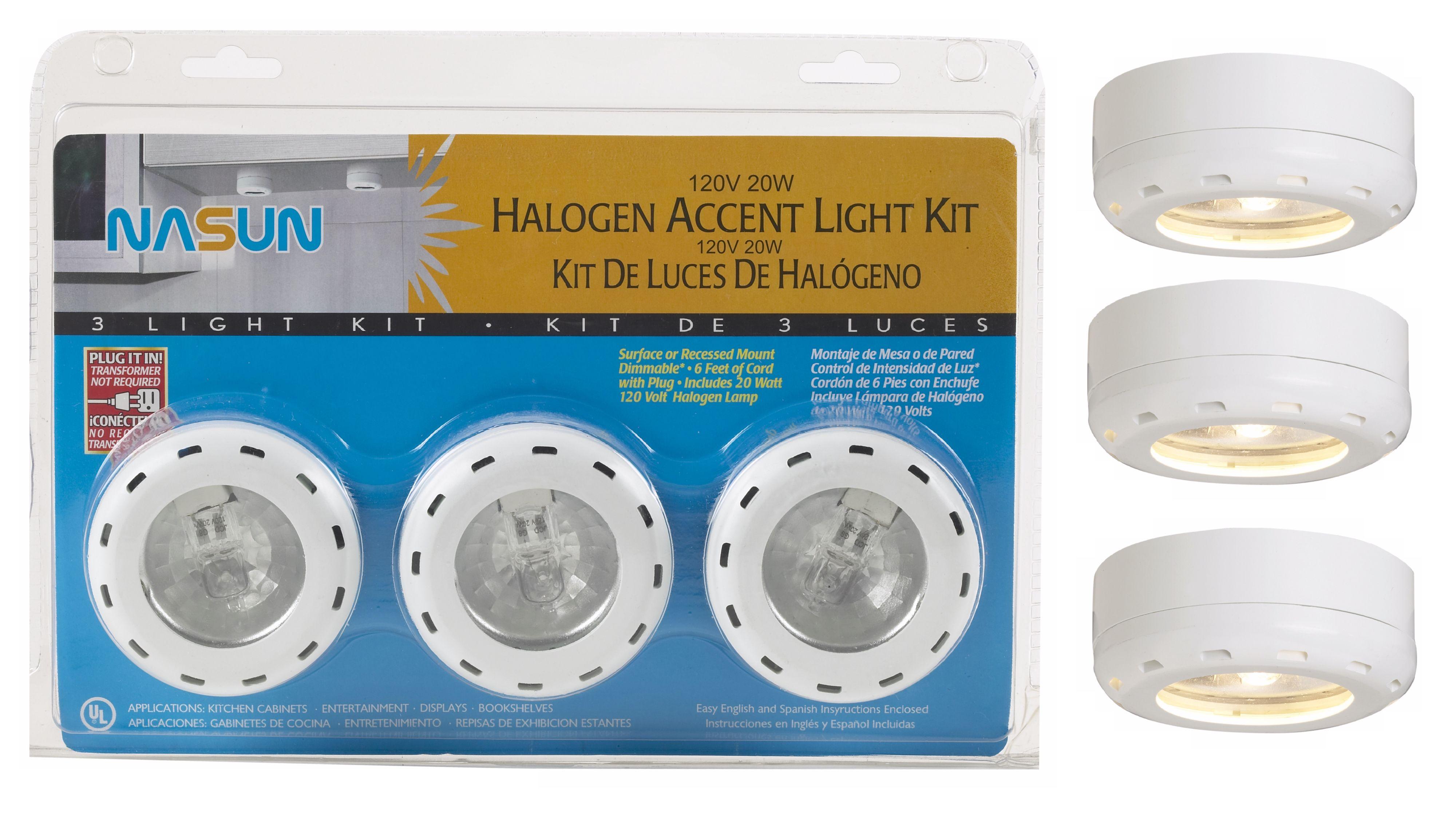 White Halogen 20 Watt 3 Pack Puck Light Kit