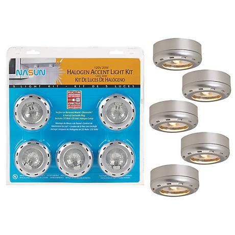Silver Finish 5-Pack 20 Watt Halogen Puck Light Kit