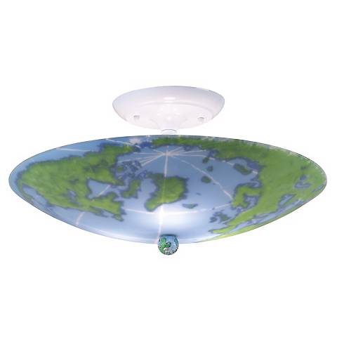 """World Map 17"""" Wide Ceiling Light Fixture"""