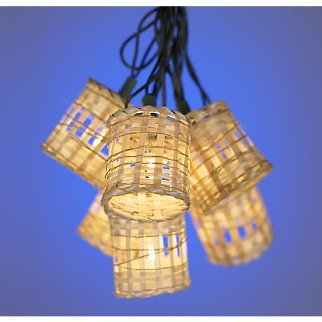 Ten-Light Bamboo Lantern Party Light Set