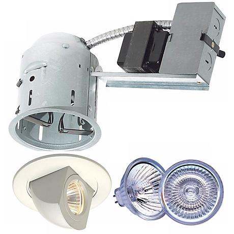 "4"" Juno Non-IC Remodel Housing with White Trim and Bulb"