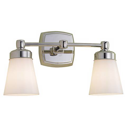 "Soft Square 15 3/4"" Wide Chrome Double Light Fixture"