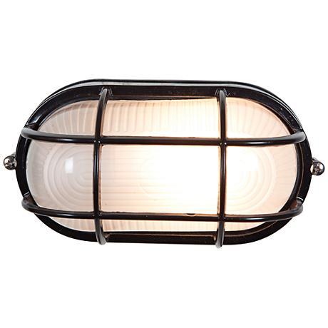 "Bulkhead 8 1/4"" High Black Oval Outdoor Wall Light"