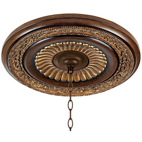 "Belcaro Collection 20 3/4"" Walnut Finish Ceiling Medallion"