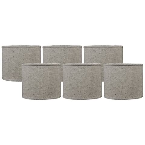 Siam Brown Set of 6 Drum Lamp Shades 5x5x4.5 (Clip-On)