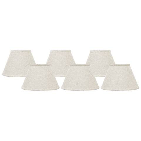 Bone Linen Set of 6 Empire Lamp Shades 4x6x5.25 (Clip-On)