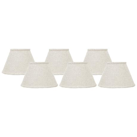 Bone Linen Set of 6 Empire Lamp Shades 4x6x5.25 (Clip-On)