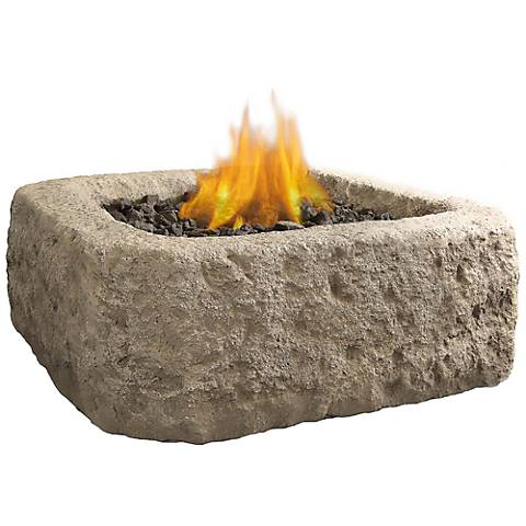 "Real Flame 37""-W Square Antique Stone Propane Fire Pit"