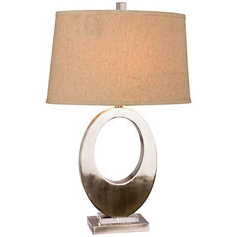 Oakwood Metal Oval Brushed Steel Table Lamp